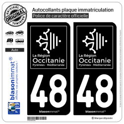 2 Autocollants plaque immatriculation Auto 48 Occitanie - LogoType Black
