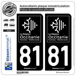 2 Autocollants plaque immatriculation Auto 81 Occitanie - LogoType Black