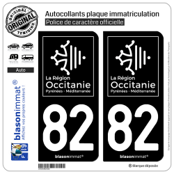2 Autocollants plaque immatriculation Auto 82 Occitanie - LogoType Black