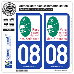 2 Autocollants plaque immatriculation Auto 08 Ardennes - Parc Naturel Régional