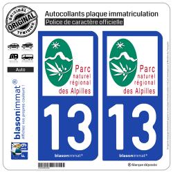 2 Autocollants plaque immatriculation Auto 13 Alpilles - Parc Naturel Régional