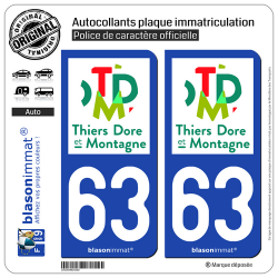 2 Autocollants plaque immatriculation Auto 63 Thiers - Agglo