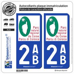 2 Autocollants plaque immatriculation Auto 2AB Corsica - Parc Naturel Régional