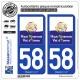 2 Autocollants plaque immatriculation Auto 58 Clamecy - Agglo