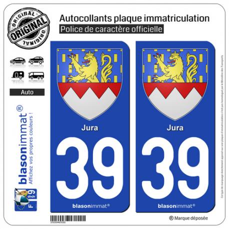 2 Autocollants plaque immatriculation Auto 39 Jura - Armoiries