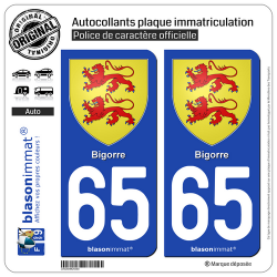 2 Autocollants plaque immatriculation Auto 65 Bigorre - Armoiries