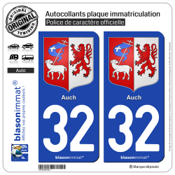 2 Autocollants plaque immatriculation Auto 32 Auch - Armoiries