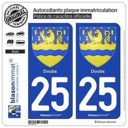 2 Autocollants plaque immatriculation Auto 25 Doubs - Armoiries