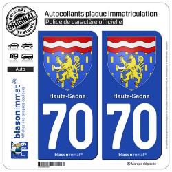 2 Autocollants plaque immatriculation Auto 70 Haute-Saône - Armoiries