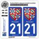 2 Autocollants plaque immatriculation Auto 21 Bourgogne - Armoiries