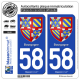 2 Autocollants plaque immatriculation Auto 58 Bourgogne - Armoiries
