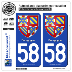 2 Autocollants plaque immatriculation Auto 58 Bourgogne - Armoiries
