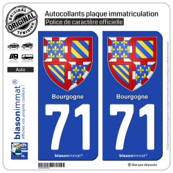 2 Autocollants plaque immatriculation Auto 71 Bourgogne - Armoiries