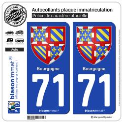 2 Autocollants plaque immatriculation Auto 71 Bourgogne - Armoiries