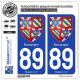 2 Autocollants plaque immatriculation Auto 89 Bourgogne - Armoiries