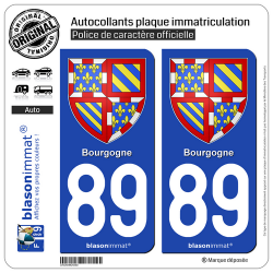 2 Autocollants plaque immatriculation Auto 89 Bourgogne - Armoiries