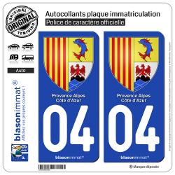 2 Autocollants plaque immatriculation Auto 04 PACA - Armoiries