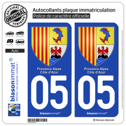 2 Autocollants plaque immatriculation Auto 05 PACA - Armoiries