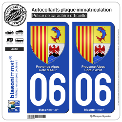2 Autocollants plaque immatriculation Auto 06 PACA - Armoiries