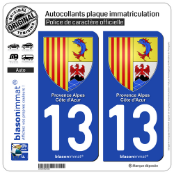 2 Autocollants plaque immatriculation Auto 13 PACA - Armoiries