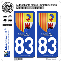 2 Autocollants plaque immatriculation Auto 83 PACA - Armoiries