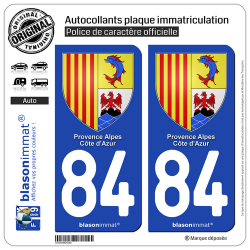 2 Autocollants plaque immatriculation Auto 84 PACA - Armoiries