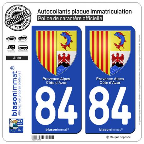 84 PACA //2 STICKERS PLAQUE IMMATRICULATION STICKER AUTOCOLLANT VAUCLUSE