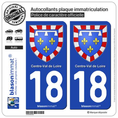 2 Autocollants plaque immatriculation Auto 18 Centre-Val de Loire - Armoiries