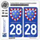 2 Autocollants plaque immatriculation Auto 28 Centre-Val de Loire - Armoiries