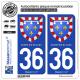 2 Autocollants plaque immatriculation Auto 36 Centre-Val de Loire - Armoiries