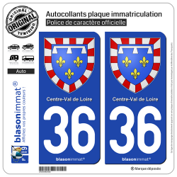 2 Autocollants plaque immatriculation Auto 36 Centre-Val de Loire - Armoiries