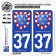 2 Autocollants plaque immatriculation Auto 37 Centre-Val de Loire - Armoiries