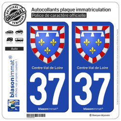 2 Autocollants plaque immatriculation Auto 37 Centre-Val de Loire - Armoiries
