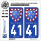 2 Autocollants plaque immatriculation Auto 41 Centre-Val de Loire - Armoiries