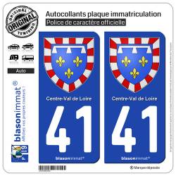 2 Autocollants plaque immatriculation Auto 41 Centre-Val de Loire - Armoiries