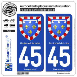 2 Autocollants plaque immatriculation Auto 45 Centre-Val de Loire - Armoiries