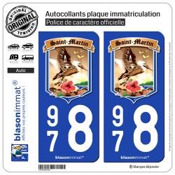2 Autocollants plaque immatriculation Auto 978 Saint-Martin - Armoiries II