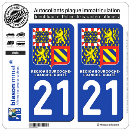 2 Autocollants immatriculation Auto 21 Bourgogne-Franche-Comté - LogoType II