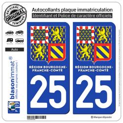 2 Autocollants immatriculation Auto 25 Bourgogne-Franche-Comté - LogoType II