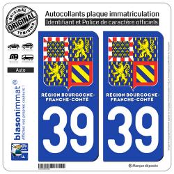2 Autocollants immatriculation Auto 39 Bourgogne-Franche-Comté - LogoType II