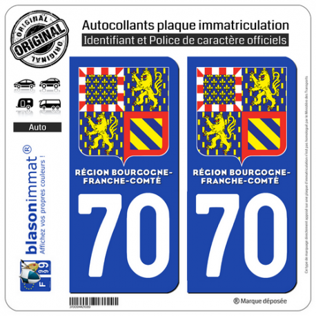 2 Autocollants immatriculation Auto 70 Bourgogne-Franche-Comté - LogoType II