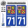 2 Autocollants immatriculation Auto 71 Bourgogne-Franche-Comté - LogoType II