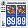 2 Autocollants immatriculation Auto 89 Bourgogne-Franche-Comté - LogoType II