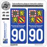 2 Autocollants immatriculation Auto 90 Bourgogne-Franche-Comté - LogoType II