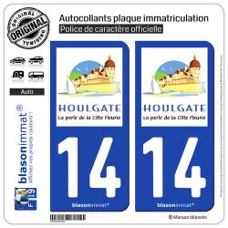 Jeu de 2 Stickers pour plaques d'immatriculation auto - Modèle : 14 Houlgate - Tourisme