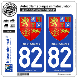 2 Autocollants plaque immatriculation Auto 82 Tarn-et-Garonne - Armoiries