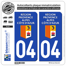 2 Autocollants plaque immatriculation Auto 04 Région Sud - LogoType