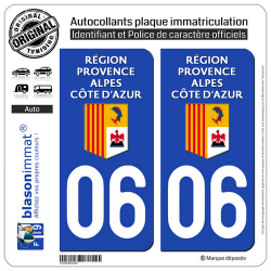 2 Autocollants plaque immatriculation Auto 06 Région Sud - LogoType