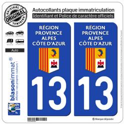 2 Autocollants plaque immatriculation Auto 13 Région Sud - LogoType