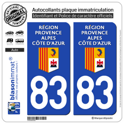 2 Autocollants plaque immatriculation Auto 83 Région Sud - LogoType